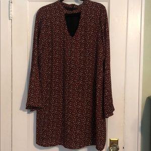 Printed mock neck bell sleeve dress